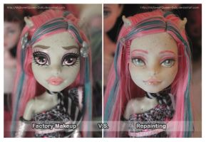 Factory Makeup VS Repainting: Rochelle Goyle by MySweetQueen-Dolls