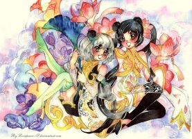 Commission: Ren and Ginkgo panda sisters by Lovepeace-S