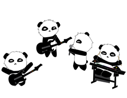 Pandas Playing Guitar Hero by whosname