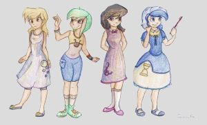 MLP: Human version. Derpy, Lyra, Octavia, Colgate by FreeSavanna