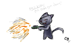 Cat With Gun by crazycat13design