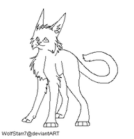 Cat Lineart (MS Paint Friendly) by WolfStarr7