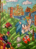 Classic Sonic in green hill zone by sonamycomic