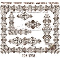 Vintage ornaments frames, corners, borders design by Lyotta