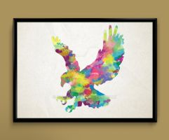 Eagle watercolor print poster by ColourInk