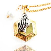 Brass Hexagon Locket Silver Seashell Necklace by crystaland