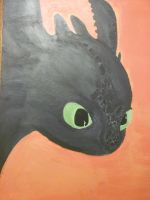 Toothless Acrylic Painting Close Up by ShortyLego
