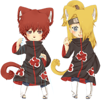 Sasori and Deidara neko chibis by Love-The-Nekos