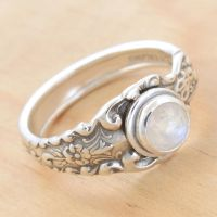 Spoon Ring with Rose-cut Moonstone by metalsmitten