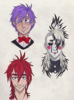 Fnaf Busts (Bonnie, Marionette, and Foxy) by Saphira1334