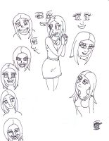 Character idea sketches of Crazy Girl by Sasuke419