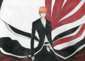 Ichigo Bankai with Hollow mask by w3ph