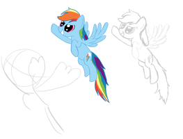 Rainbow Dash Flying Drawing DAY3 by DarkFlame75