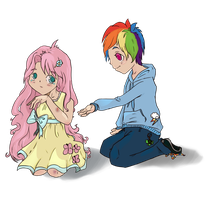 Fluttershy and RD by StoryShepherd