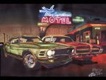 70 Mustang, and 67 Cougar At Blue Swallow Motel by FastLaneIllustration