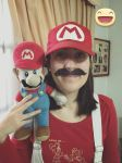 My Mario costume (with mustache) by PrincessPuccadomiNyo
