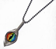 Rainbow Glass Dragon Eye Wire Wrap Pendant by Create-A-Pendant