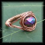 Handwrapped Recycled Copper Wire and CZ Bead Ring by ogstock