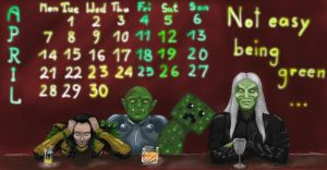 Calendar Wraith Crossover April 2014 by sleepyowlet
