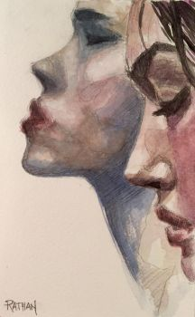 Detail, Watercolor Study - Two Profiles by akrathan