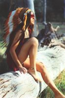 girl indian headdress by krazyminor2011