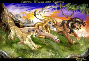 Omega, Wistan, Tanassi by OmegaLioness