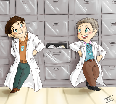 Commission - Chibi Jimmy and Brian in the Morgue by FuriarossaAndMimma