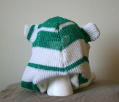 Green and White Striped Bear Hat with Pockets Back by Tzigana