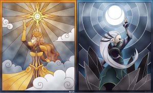 Leona and Diana: Sun vs Moon by EvarchaC