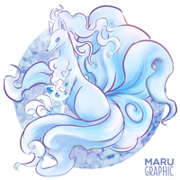 Alola Vulpix and Ninetales by Marugraphic