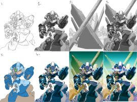 MegaMan...steps and stuff by Chuckdee
