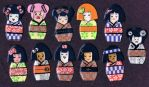 More Kokeshi Magnets by klawzie