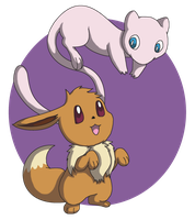 Eevee and Mew by BlurBird