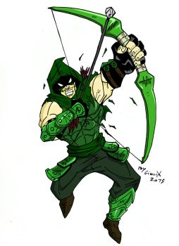 Green Arrow action by DarkGiovy91