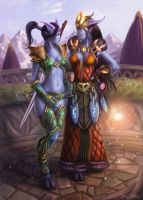 The Draenei Frennja and Hartera by Jorsch