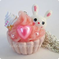 Bunny Loves Ice Cream Necklace by CatNapCaps