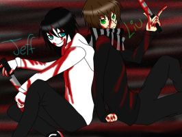 Jeff The Killer y Homicidal Liu by MorikoX