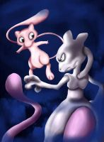 Mew and Mewtwo by Myssi98765