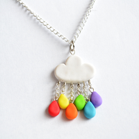 Cute Polymer Clay Rainbow Rain Cloud Necklace by Linnypig