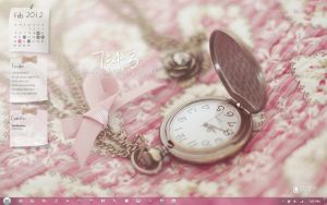 Pink and Vintage-ish Desktop by pinkykei