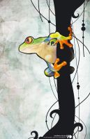 red eyed tree frog by SquareFrogDesigns
