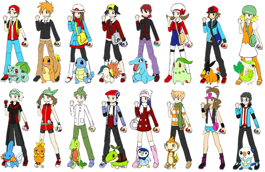 ALL the Pokemon main trainers by NaruSasusupporter