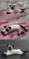 Needle Felted Siamese Cat OOAK by WhimsyWeb