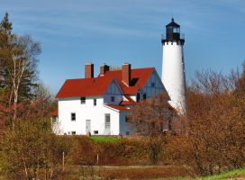 Point Iroquois Lighthouse by SuicideBySafetyPin