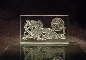 Celtic Glass Etch Dog Knotwork by ImaginedGlass