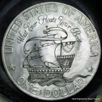 Hand engraved dollar by shaun750