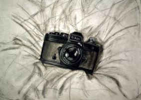 A photo of a drawing of a camera by ippiki-wolf