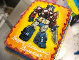 Optimus Prime Birthday Cake by Erisana