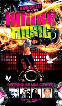 Dirty House Music Flyer Template by Joser0GFX