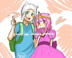 Adventure Time Finn and PB by SpiceyBunCake